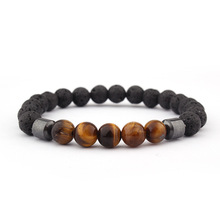Fashion Explosion Hot Sale 8mm Lava Yellow Tiger Eye Charm Men and Women Bracelet Hand-knitted Elastic Accessories