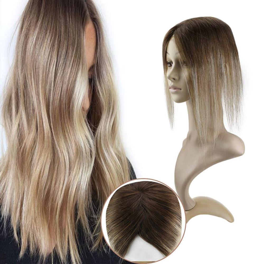 Ugeat Hairpieces Mono Topper 2 pollici X 6 pollici evidenzia colore biondo #4/6/22 corona estensioni dei capelli Toppers per capelli per donne