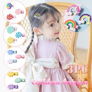 Детские заколки для волос, милые разноцветные заколки-леденец из полимера, радужные аксессуары для волос