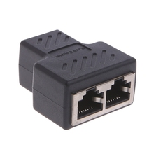 1 To 2 Ways LAN Ethernet Network Cable RJ45 Female Splitter Connector Adapter X6HB цена и фото
