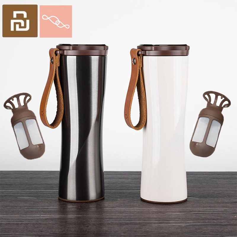 MOKA KKF Kisskissfish Coffee Cup Vacuum Thermos Portable 304 Stainless LED Touch Screen Water Bottle for xiaomi Smart Home