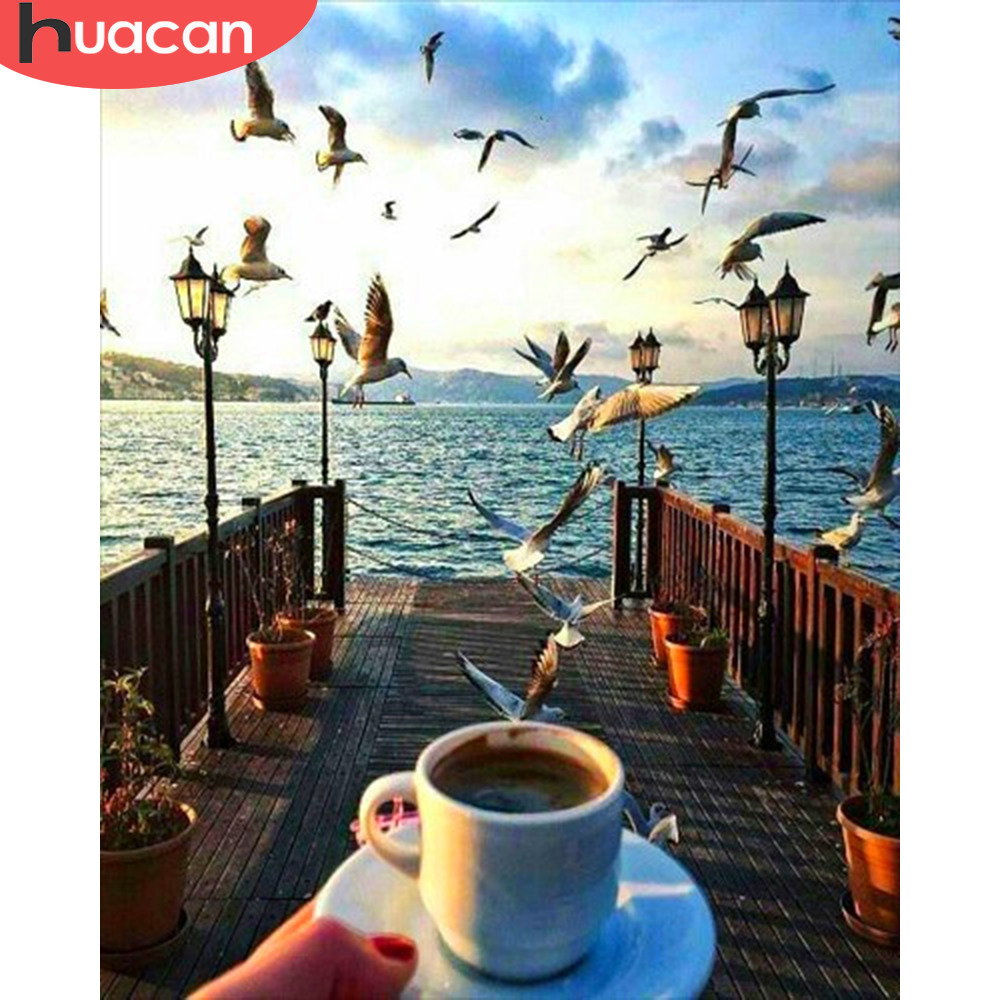 HUACAN Pictures By Numbers Bridge Landscape Art DIY Oil Painting By Numbers Coffee Cup Scenery Coloring Canvas Painting
