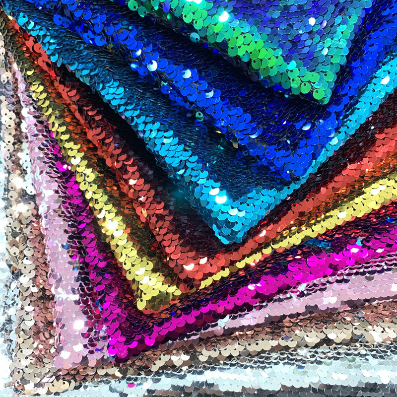 <font><b>130*100cm</b></font> Reversible Mermaid Fish Scale Sequin Fabric DIY Wedding Table Cloth Cover 5mm Sequin Paillette Fabric Home Tablecloths image