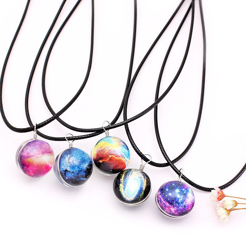 1Pcs Vintage Colorful Leather Rope Galaxy Planet Star Glass Ball Pendant  Duplex Planet Crystal Stars Ball Women  Necklace