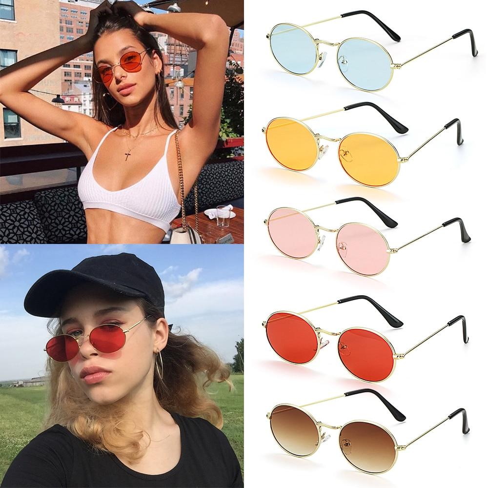 Модные Овальные Солнцезащитные очки золотистого и серебристого цвета в ретро-стиле с металлической небольшой оправой для женщин и мужчин, ...
