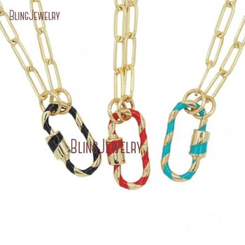 Enamel Screw Clasp Necklace Oval Carabiner Lock Necklace Gold Chain Necklace NM30277