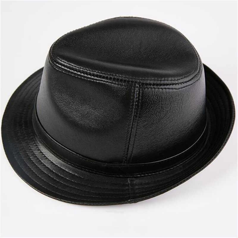 Greenyu marca couro genuíno fedoras chapéu de inverno quente ao ar livre primeira camada de pele carneiro chapéu de pele para o homem chapéu preto