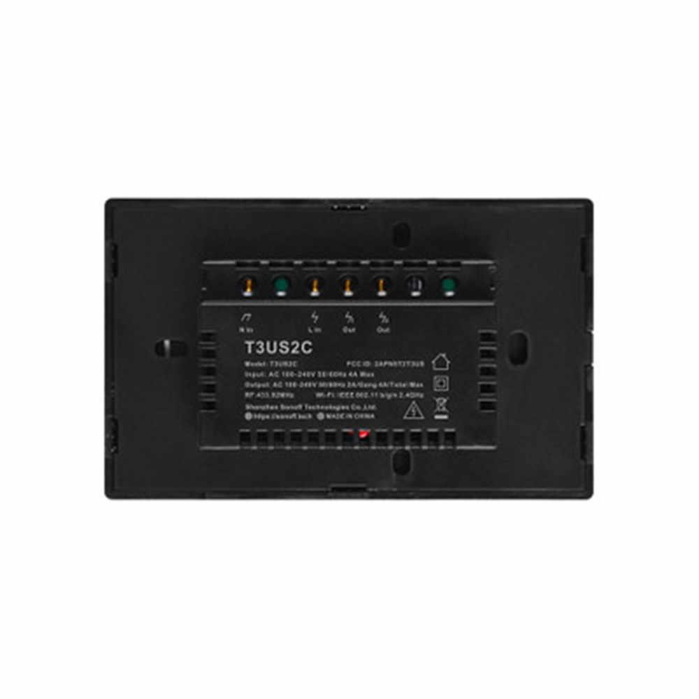 SONOFF T3 TX Smart Wifi Interruptor táctil de pared negro con borde Smart Home 1/2/3 Gang 433 RF/voz/Control de aplicación funciona con Alexa