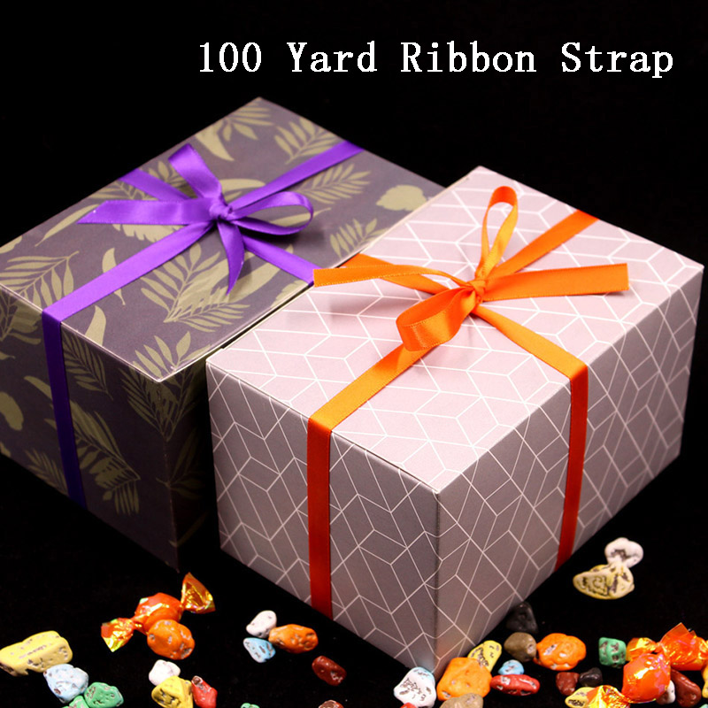 100 Yard/ <font><b>91</b></font> Meter Ribbon Wedding Birthday Candy Box Strap Festival Gife Boxes Packaging Tape image