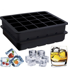 BPA Free Ice Cube Tray with 20 Grid Food-Grade Silicone Square Black 14.7*12.1cm new