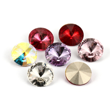 Red Rhinestones For Clothes Bags K9 Glass Strass Round Crystal Pointback Rivoli Crystals Jewelry Accessories