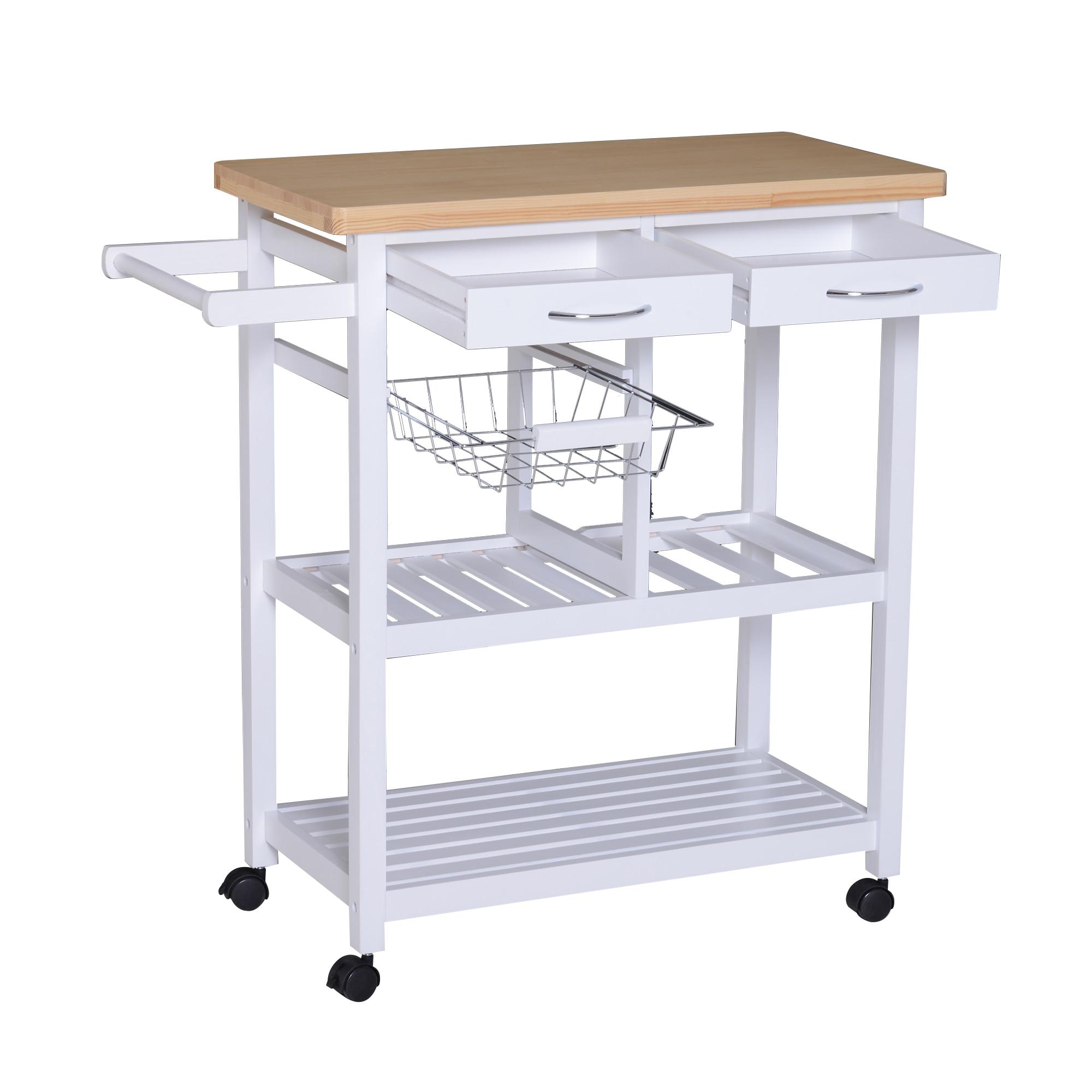HOMCOM Cart Scope With Bottle Holder And 2 Basket Shelves, 2 Drawers Durable Versatile Kitchen Pine Wood