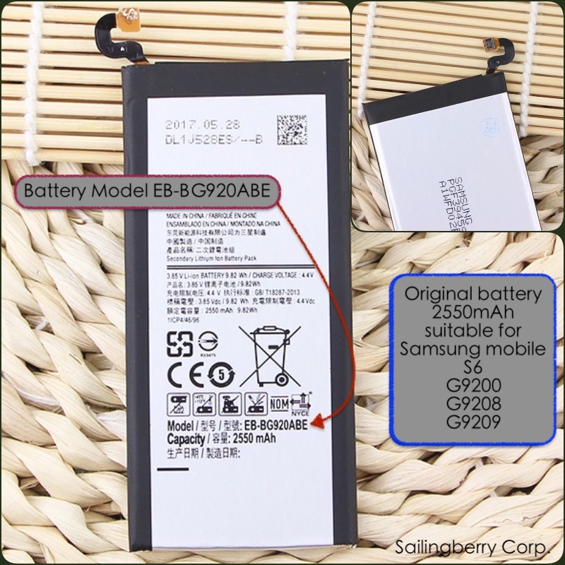 Original battery suitable for Samsung mobile S6/G9200/G9208/G9209 with battery model EB-BG920ABE