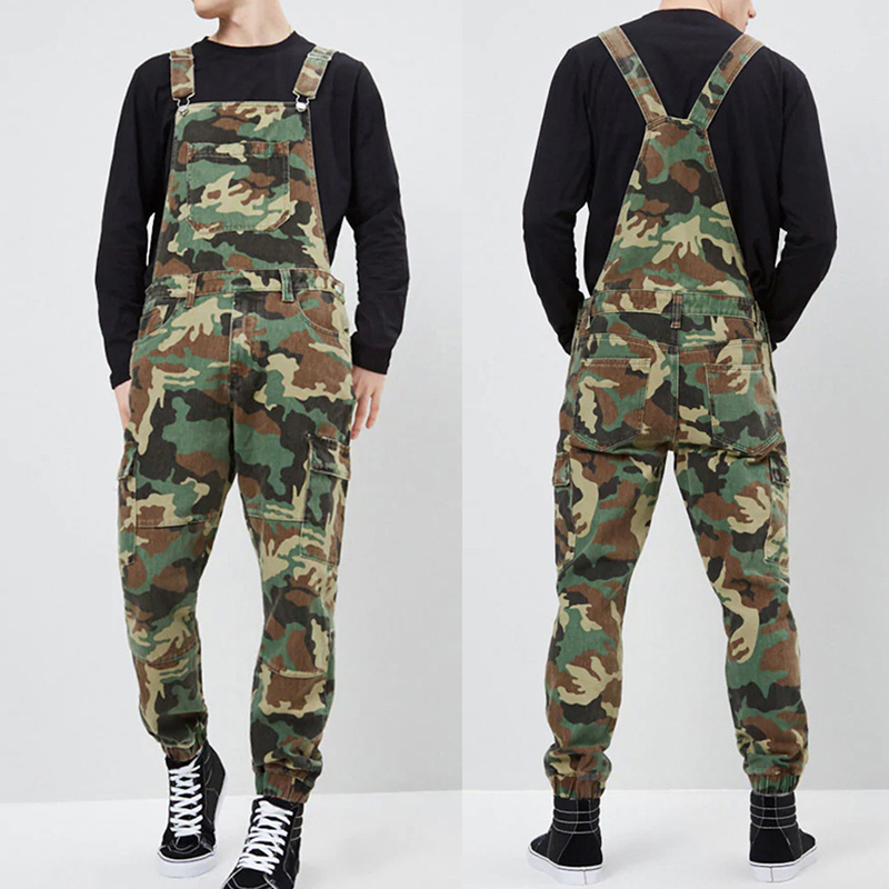 Camouflage Men Bib Pants Casual Mens Denim Jumpsuits Hip Hop Streetwear Male Loose Jeans Overall Rompers Camo Dungarees D25