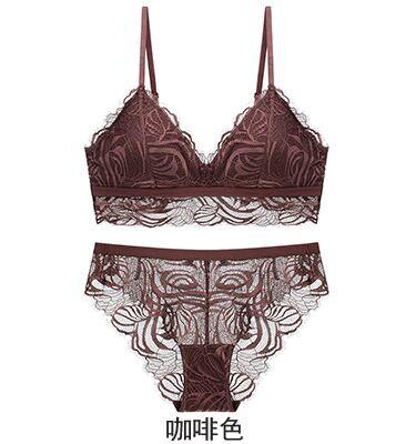 Image 5 - 2020 Wireless Bra and Panties Sets Vintage Lace Floral Seamless Underwear Set Sexy Deep V Plunge Lingerie SetBra & Brief Sets   -