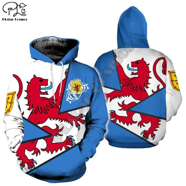 Hommes femmes mode ecosse-lion tout imprimer 3d sweat à capuche harajuku sweat manteau à glissière unisexe streetwear survêtement pull
