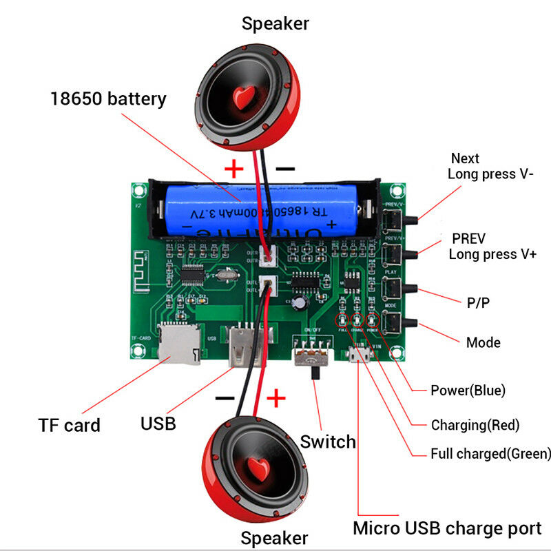 Bluetooth Power Amplifier Board PAM8403 Stereo AMP USB 18650 Battery PowerWCH