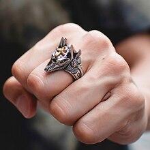 Titanium steel Egipto Cruz Anubis Dios dedo anillos para hombres mujeres Punk Lobo cabeza nudillo anillo declaración Retro Ring