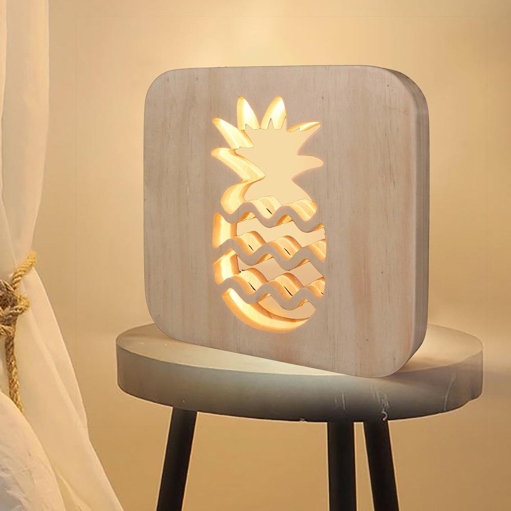 Wooden LED Pineapple Night Light USB Powered Kids Bedroom Lamp Children Gift