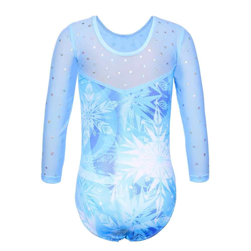 BAOHULU קיד בנות בלט בגד גוף שבע רבע שרוול התעמלות בגד גוף גדול פתית שלג דפוס ריקוד בגד גוף בלרינת תלבושות