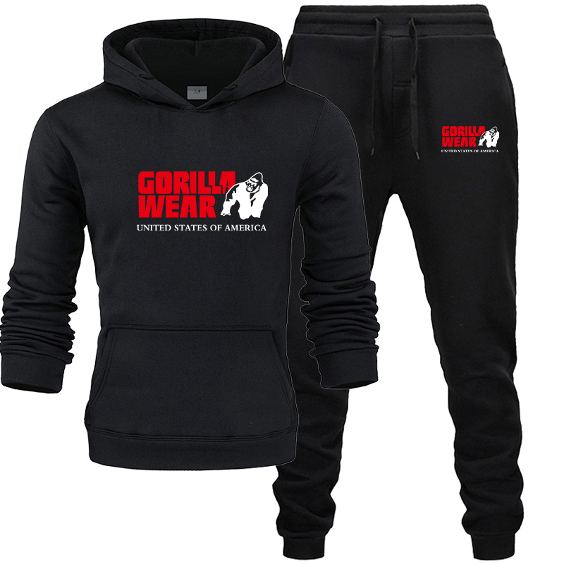 Tracksuit Fashion GORILLA WEAR Sportswear Two Piece Sets All Cotton Fleece Thick Hoodie+Pants Sporting Suit