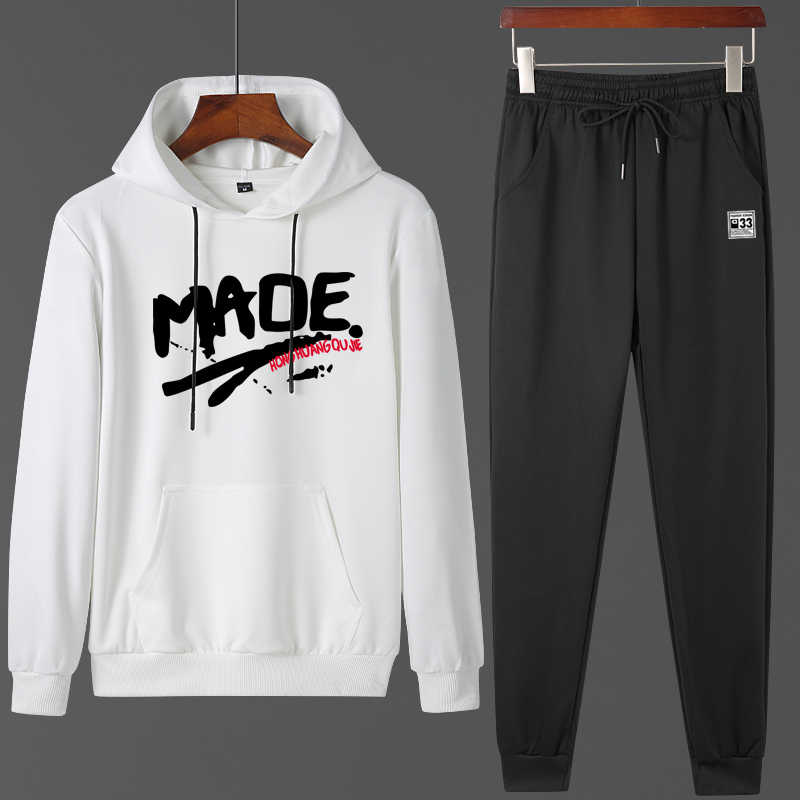 New Hooded Tracksuit Men Sets 2020 Spring Men's Sportswear Sweatshirts+Pants Suit Jogger Sweatsuits Male Outdoors Print Clothing