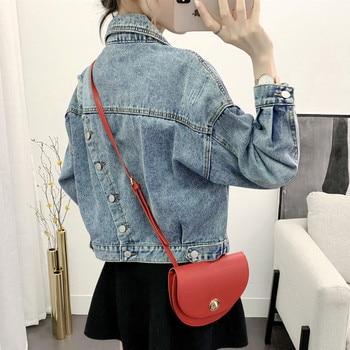 [EWQ] 2021 Autumn New Full Sleeve Turn-down Collar Loose Women Cowboy Coats Korea Style 1 Blue Short Denim Jacket QZ346 1