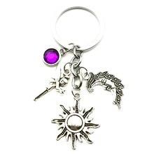 New Fashion 9 Color Key Ring Sun Moon Angel Birth Stone Pendant Key Chain DIY Car Key Ring Souvenir Jewelry Gift thailand imports genuine gv new moon key pendant