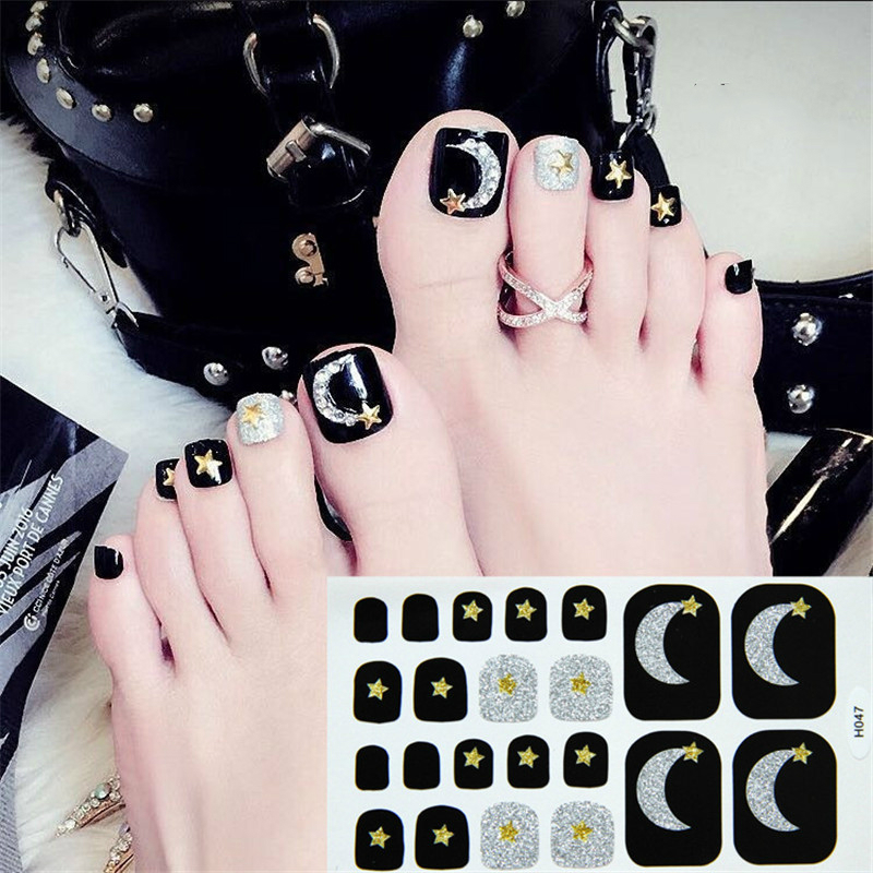 Image 2 - 22tips Korea Toe Nail Sticker Wraps Adhesive Decals Toenail Polish Strips DIY Pedicure Foot Decals Manicure Women-in Stickers & Decals from Beauty & Health