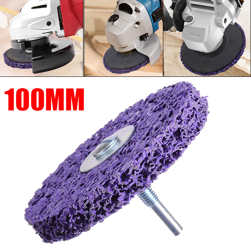 1Pcs 100mm Purple Cleaning Disc Polishing Wheel + Disc Drill 6000RPM For Paint Rust Removal Surface Cleaning Tools