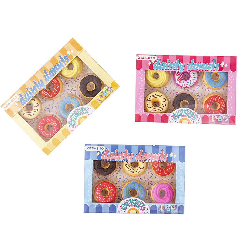 6 Pcs/pack Candy Doughnuts Eraser Drawing Pencil Rubber Eraser  Primary Student Prizes Stationery Office School Supplies