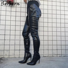 Sorbern Wide Fit Thigh High Boots For Women High Heels Pointed Toe Short Inside Long Outside Shaft Half Zipper Custom Slim Boots цена 2017