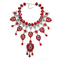 Dvacaman Brand Red Crystal Rhinestone Statement Necklace for Women Wedding Bridal Handmade Flower Pendant Necklace Accessories
