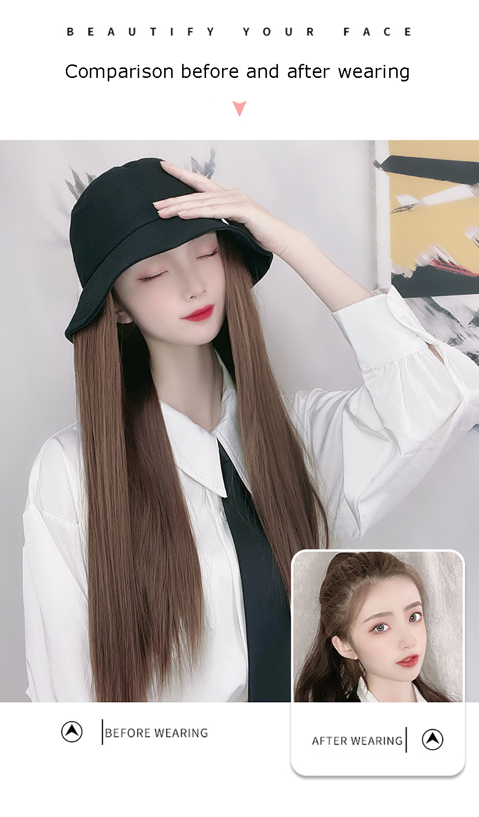 natural fake hairpieces peruca com chapéu sombra