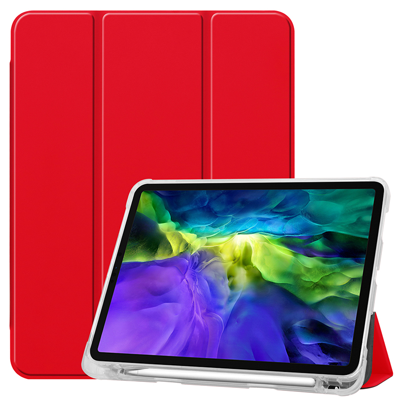 Red Red Clear TPU case with pencil slot for 2020 iPad Pro 11 inch A2228 A2068 A2230 transparent