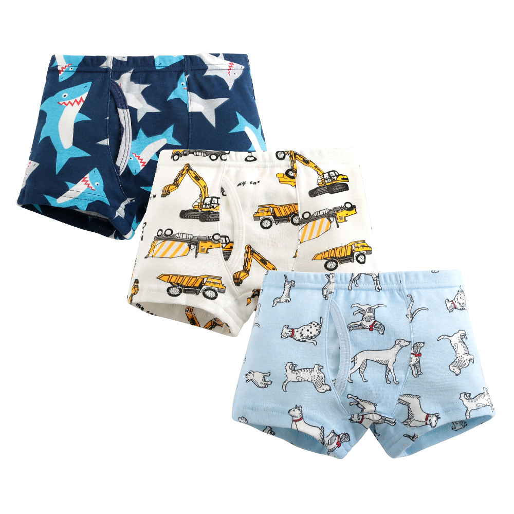 Cartoon Dinosaur Car Print Boys Underwear Cotton Striped Underpants For A Boy Stretched Kids Boxers Child Clothes Baby Panties