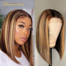 Brasileño rubio miel Bob corto peluca destacar frente de encaje pelucas con minimechones Cierre de encaje Peluca de densidad 150-arrancado para las mujeres