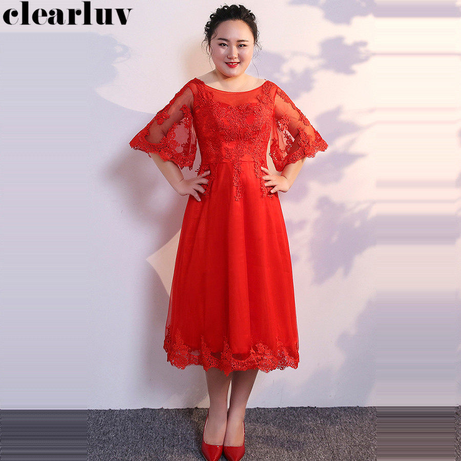 Prom Gowns Red Embroidery Vestidos De Gala T360 2019 New Plus Size O-neck Dresses Women Party Night Backless Lace Up Prom Dress