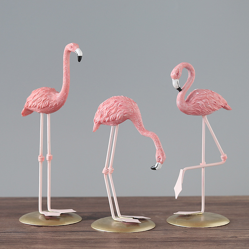 Pink Flamingo Resin Home Decoration INS Wedding Christmas Gifts Living Room Bedroon Craft Desktop Romatic Party Ornament