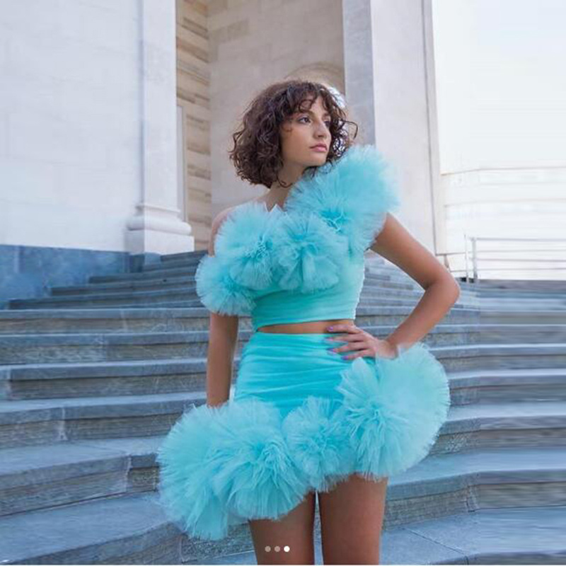 Sky Blue Ruffle Puffy Tulle Short Tulle Skirts Custom Made Any Color Free