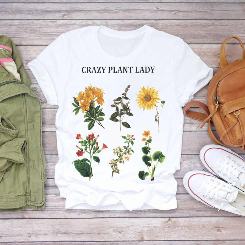 Wanita 2020 Musim Panas Lengan Pendek Floral Bunga Fashion Wanita T-shirt Top T Shirt Wanita Grafis Wanita Tee T-shirt