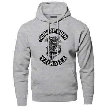 Hoodies Men Odin Vikings Sweatshirts Son Of Odin Hooded Sweatshirt Sons Of VikingWinter Autumn Gone to Valhalla Sportswear 2