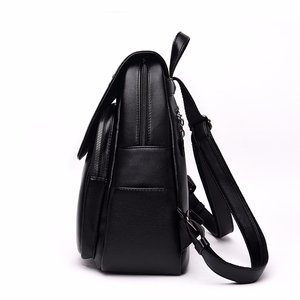 Image 2 - Frauen Leder Rucksäcke Hohe Qualität Sac A Dos Rucksäcke Für Mädchen Vintage Bagpack Solide Damen Reise Zurück Pack Schule Weibliche
