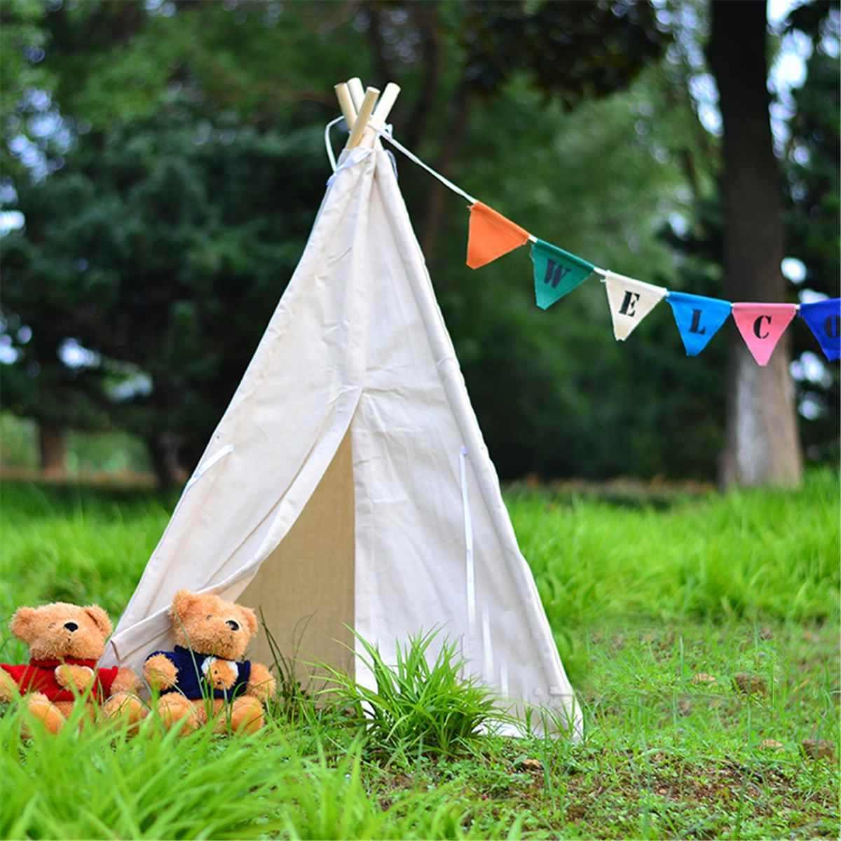 Tipi 텐트 어린이 놀이 텐트 Teepee 하우스 Wigwam 룸 어린이 텐트 게임 하우스 삼각형 Teepee 캔버스 슬리핑 돔 130cm