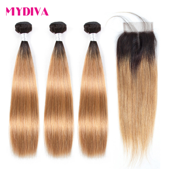 Ombre Bundles With Closure 1B/27 Blonde Ombre Peruvian Hair Weave Ombre Straight Human Hair 3Bundles With Closure Mydiva фото