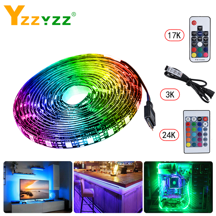 5V USB TV Backlight <font><b>5050</b></font> <font><b>SMD</b></font> <font><b>RGB</b></font> Tape LED strip Light For TV Background HDTV Neon Lamp 1M 2M 3M 4M 5M With 24 Key Remote Control image