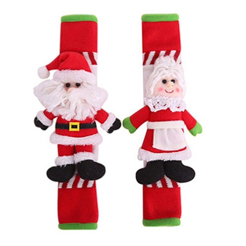 2PCS/Set Santa Refrigerator Handle Covers Microwave Door Refrigerator Handle Sets Kitchen Appliance Christmas Decor Kitchen Tool