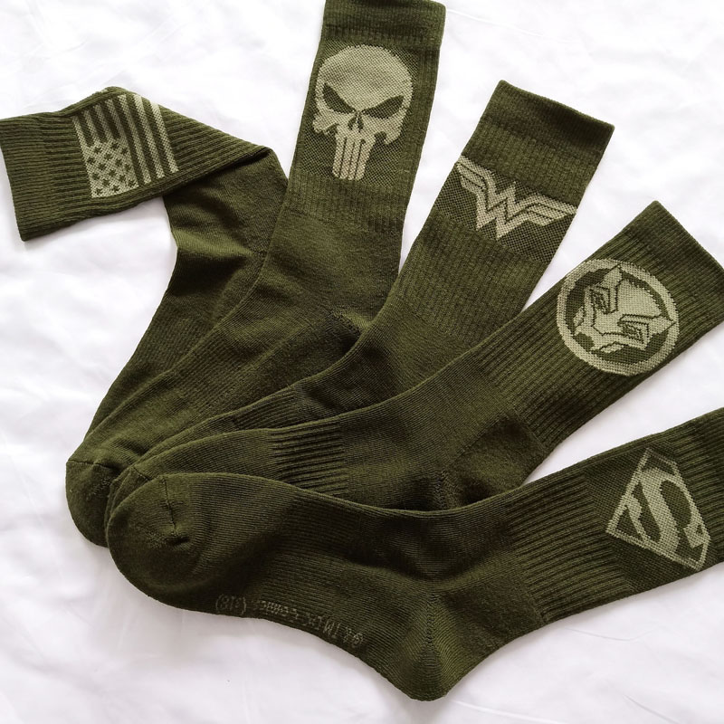 Marvel Comics Hero General Socks Cartoon Superman Captain America Towel Bottom Warm Stitching Pattern Military Green Casual Sock