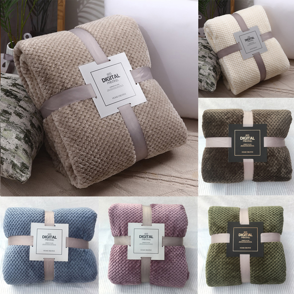 Flannel Fleece Throw Blanket Soft Blanket Solid Color Bedspread Plush Cover For Bed Sofa Christmas Gift Dropship