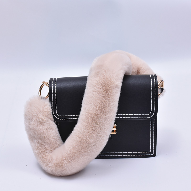 40cm Replacement Bag Strap Faux Rabbit Fur Handbag Should Handle For Women Purse Belts Charm Winter Accessories BS004